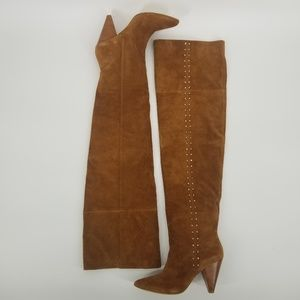 Joie Gallison Cognac Suede Over The Knee Boots NEW